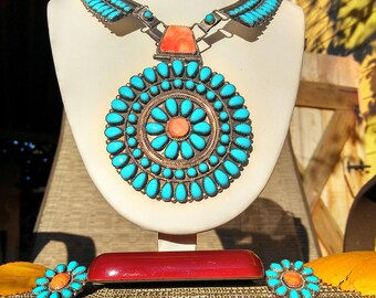Vintage Turquoise and Coral Zuni Necklace and Earring Set