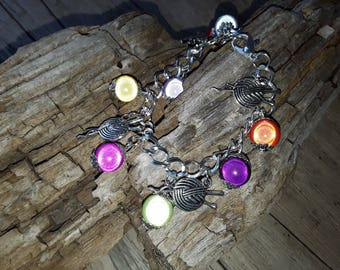Set bracelet and earrings multicolored