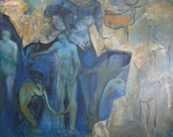 aries painting, cave painting, horoscope painting, gift for her, blue, gold, oil painting