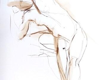 Nude Figure Drawing, Female Torso Stretch, Original Walnut Ink on Paper, Gesture Drawing, Gift for Dancer, Dance Art, Figurative Art