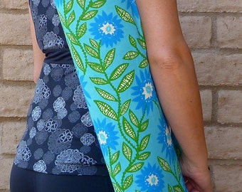 Mothers day gift, Yoga Mat Bag, yoga sling, yoga mat carrier, yoga sac, CALM blue and green yoga mat bag, floral yoga mat bag, yoga mat tote