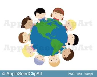World Family Digital Clip Art, Cute Kids Digital Clip Art, World, Earth, Hands Digital Clip Art, Instant Download, Scrapbooking