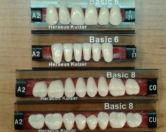 Full set upper and lower medium denture teeth, false teeth shade A2
