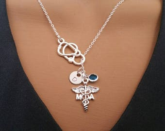 MA Medical Assistant Gift Handstamped Personalized Crystal Birthstone Initial Lariat Style Necklace