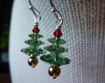 Swarovski Christmas Tree Earrings Holiday Earrings Silver Plated Brass 22 Karat Gold Plated