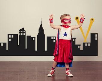 "Super Hero City - Kids Wall Decal - Boys Room Decal - SuperHero Skyline 60"" W"
