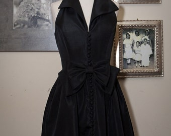1960s 1970s Little Black Cocktail Dress with Bow