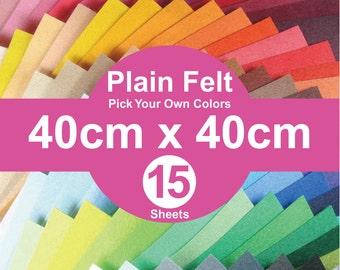 15 Plain Felt Sheets - 40cm x 40cm per sheet - pick your own colors (A40x40)