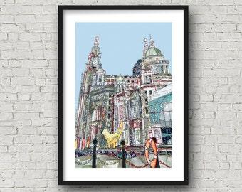 Liverpool Waterfront - 3 Graces - Lambanana - PRINT