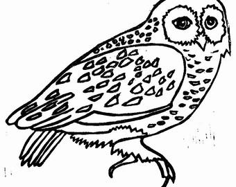 "owl linoleum block print - 11"" x 14"" wall art"