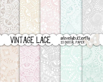 Vintage lace digital paper, wedding invitation digital, lace digital, vintage bridal clipart, small comercial use, INSTANT DOWNLOAD