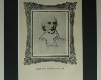 1901 Antique William Windham Print, Available Framed, Liberal Art, Whig Politician Decor, British Politics Gift, English Political Wall Art