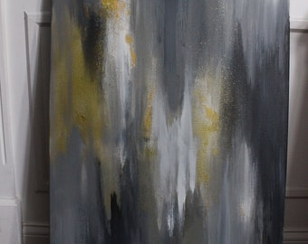 24x36 white/gold/grey abstract painting