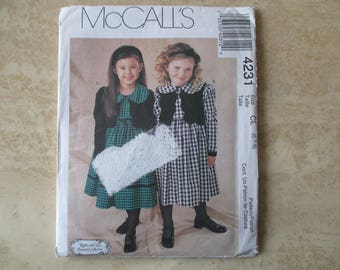 pattern dress 6/7/8 years old in English and Spanish dress lined vest girl MC CALL's S
