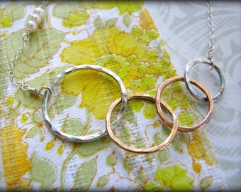 Four Sisters Rings Necklace 4 Symbolic Infinity Linked Gold Rose Sterling Silver Gift Birthday Best Friends 40th 45th 50th 55th 60th 65th