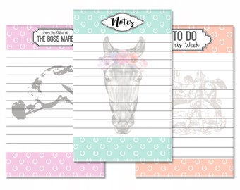 """Equestrian Stationery 3-Pack: Boss Mare Memo Pad, Boho Pony Notepad, Vintage Weekly To Do List - 5.5""""x8.5"""" Full Color Gift Set"""