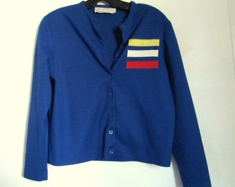Marked Down 50%@@A Vintage 60's,Royal Blue Button Front CARDIE/TOP By Harry J.Sinski.M