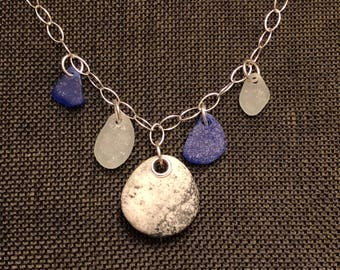Sea glass jewelry-5 piece beach stone and Sea glass necklace on a sterling silver chain