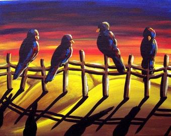 Crows Ravens Sunset Colorful Folk Art Giclee Print