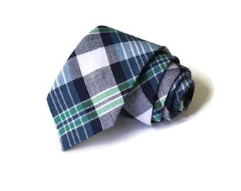 Necktie~Plaid Necktie~Anniversary Gift~Wedding Tie~Mens Gift~Boys Necktie~Mens Necktie~Wedding~HoBo Ties~Mens Tie~Boys Tie~Navy Tie