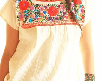 Flores Rojas Vintage Mexican Blouse Hand Embroidered
