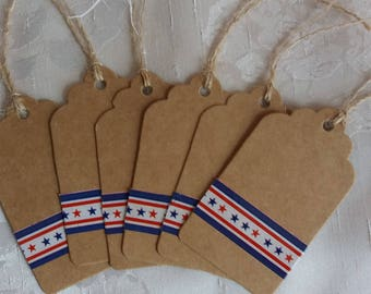 FREE SHIPPING Gift tags, American flag color tags, Favor tags Thank you tags for sellers, Custom favor tags Thanksgiving tags, Pack o ftags