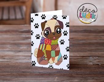 pug card, pug gift, pug greeting card, pug illustration, pug lover, cute pug card, funny pug card, colorful pug card, pug anniversary card