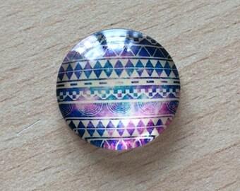 Nice geometry 04 pattern glass cabochon pendant