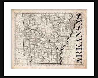 Arkansas Map - Map of Arkansas - Poster - Print - Sepia