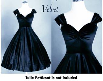 Sale! Custom Made to Order! Midnight NAVY Blue Velvet Cherrybomb Swing Dress by Hardley Dangerous 1950s Rockabilly Bridesmaid, Pin Up