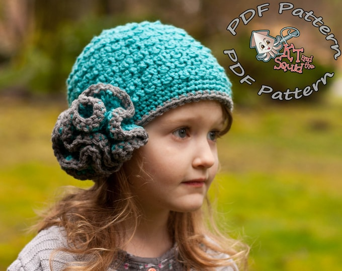 Girls crochet hat pattern. Crochet hat pattern with ruffle, newborn, baby child toddler adult, instant download, crochet pattern