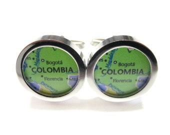 Colombia Map Pendant Cufflinks