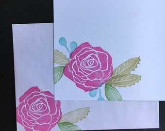 Pink rose flat note cards