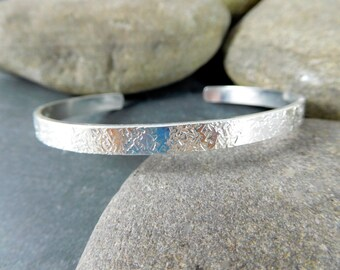 Textured 5mm Wide Sterling Silver Cuff Bracelet Open Silver Bangle Hand Forged Cuff Simple Hammered Stacking Bracelet Minimalist Jewelry GRJ