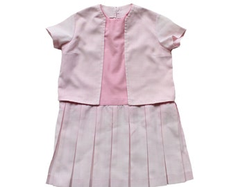 FRENCH VINTAGE 60/70's / kids / pleated dress / pink and white Tergal fabric / handmade / size 3 years