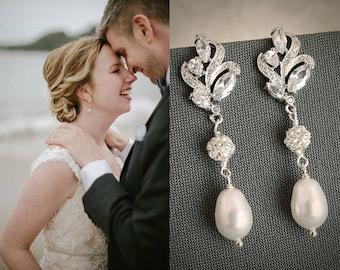 Bridal Earrings, Wedding Earrings, Vintage Style Filigree Leaf  Earrings, Swarovski Pearl Drop Dangle Earrings, Wedding Jewelry, BERENICE
