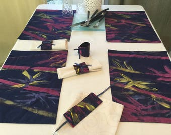 Hand painted bamboo placemat in Navy blue fabric theme