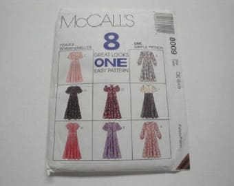 """McCall's Crafts Pattern #8009 """"Little Girl Dresses"""" sizes 3/4/5"""