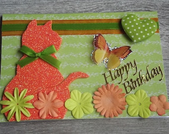 Birthday card using orange cat, pititou collection.