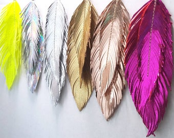 Large Feather Earrings, Feather Earrings, Bohemian Earrings, Boho Bride, Metallic Leather, Bridal Earrings, Boho, Large Earrings, Feather