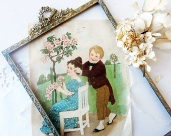 1800s Antique French Silk Picture Print on Silk. No copy, original print!