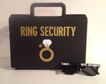 Ring Bearer Briefcase AND Sunglasses - Ring Bearer Briefcase - Ring Bearer Gift - Ring Security Briefcase