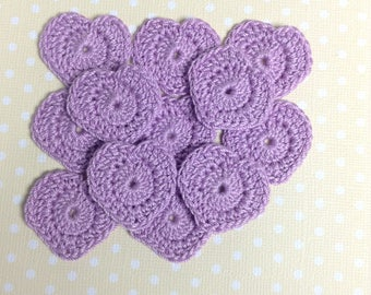 Crocheted Tiny Heart Appliqués - set of 12 (#02-08)