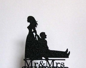 Personalized Funny Wedding Cake Topper - Bride Dragging Groom with Mr & Mrs your last name