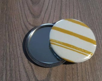 dimension in mustard and white stripe fabric 58mm Pocket mirror
