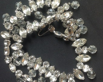 Kramer Rhinestone and crystal necklace signed vintage VJSE