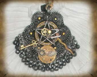 Witches Steampunk Pentacle Necklace, Neo-Victorian Magic