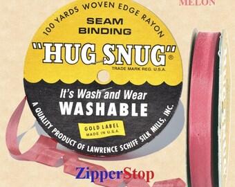 "MELON - Hug Snug Seam Binding - 100 yard roll 1/2"" Wide - 100% Woven-Edge Rayon - Sewing Trim & Craft Supply - Wholesale Ribbon"