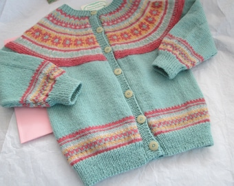 Hand Knit Fair Isle Sweater 4T Pure Wool Ready to Ship