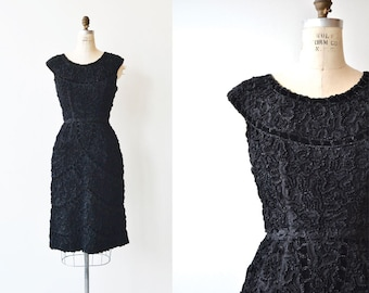 Solfeggio dress | vintage 50s cocktail dress | black 1950s dress